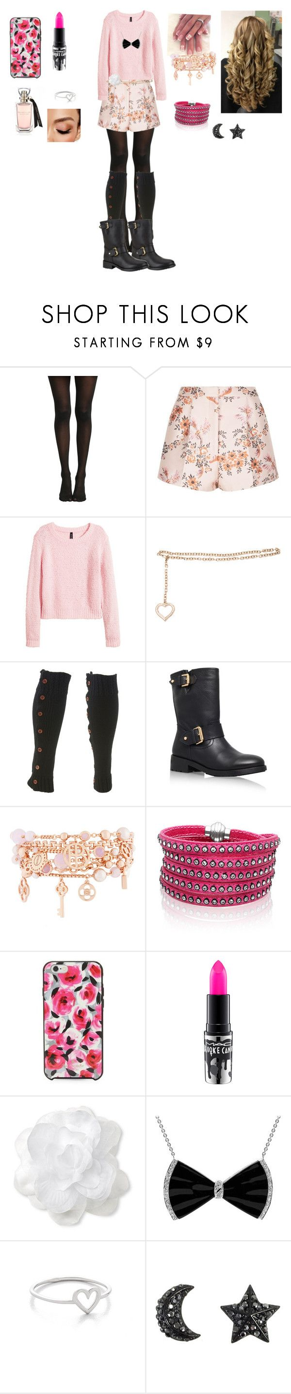 """Untitled #12"" by pinky731 ❤ liked on Polyvore featuring Hot Topic, STELLA McCARTNEY, H&M, Alessandra Rich, Charlotte Russe, Kurt Geiger, Henri Bendel, Sif Jakobs Jewellery, Kate Spade and MAC Cosmetics"