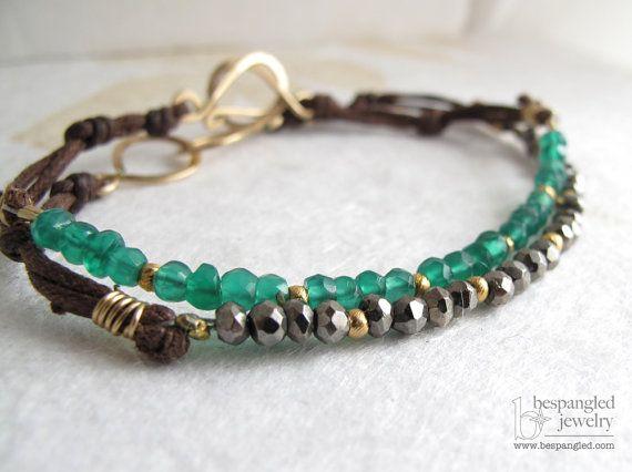 Ónix verde esmeralda amontonamiento de por bespangledjewelry