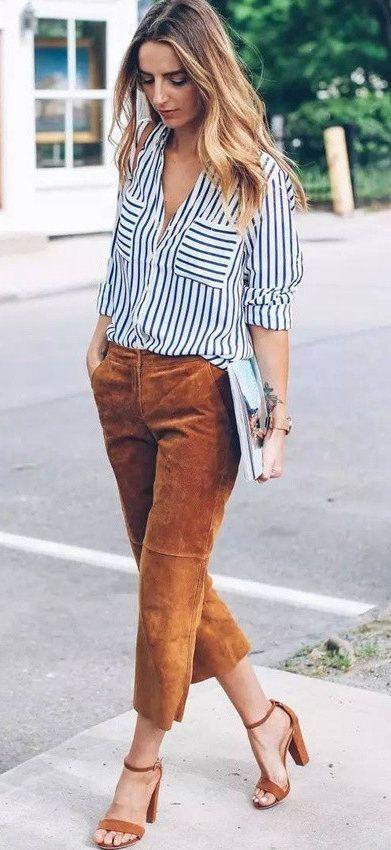 summer outfits  Striped Shirt + Camel Pants + Camel Sandals