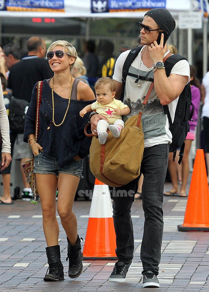 Elsa Pataky.. rock and bohemian casual chic.. with husband, Chris Hemsworth..