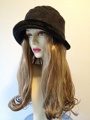 """Black Faux-suede #Bucket Hat  Hair Length: 14"""" Straight Hair with Curled Ends Hair Color Pictured: Light Brown with highlights  (3 Colors Available- See dropdown menu) Kenakalon Synthetic Hair Fiber- highest quality synthetic fiber available on the market."""