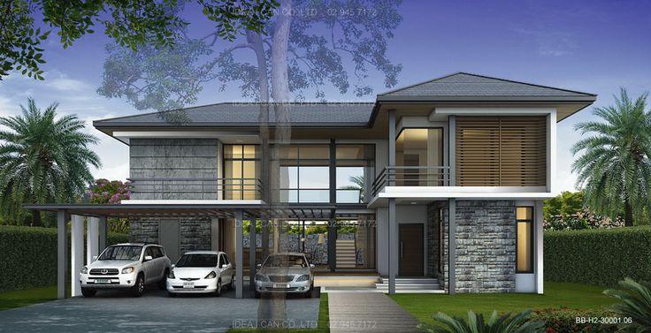 แบบบ้าน Modern Style บ้าน 2 ชั้น 4 ห้องนอน 5 ห้องน้ำ พื้นที่ใช้สอย 260 ตร.ม.