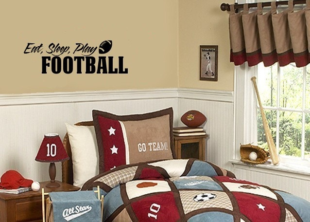 sports wall decals childrens decals boys football decals eat sleep play football wall - Sports Wall Stickers For Bedrooms