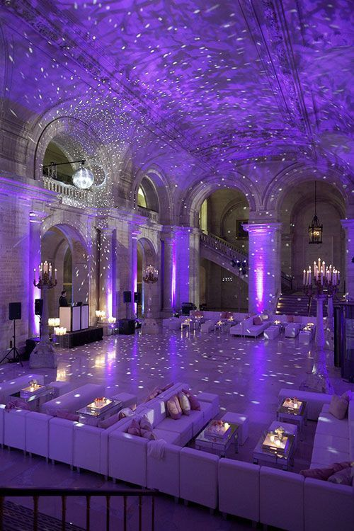 Wedding Inspiration: Starry night. Lovely uplighting in such a beautiful venue. Click the photos to get more info. <3