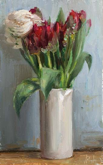 Tulips and rununculus A Daily painting by Julian Merrow-Smith