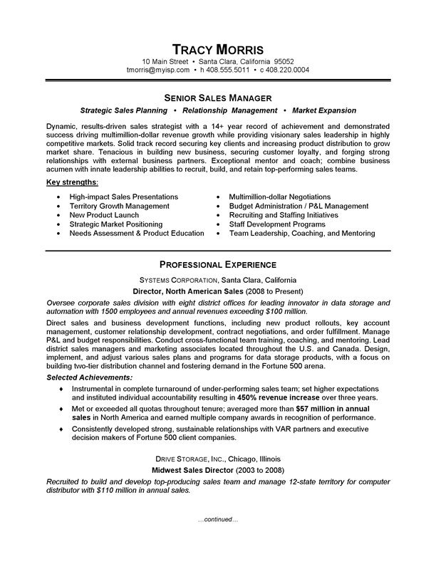 sales manager resume sample sales manager resume sample will give ideas and strategies to develop - Sample Resume For Leadership Position