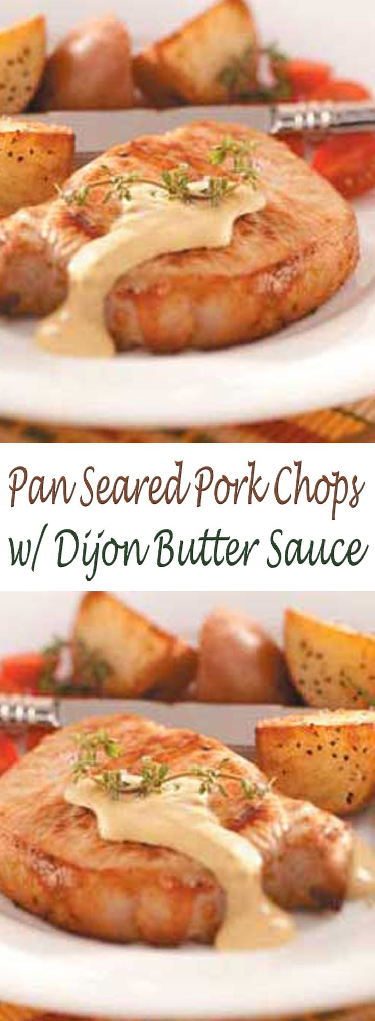 Pan Seared Pork Chops with Dijon Butter Sauce. #CompleteRecipes.com #recipe #recipes #food #foodgasm #cleaneating #healthyfood #healthy #healthyrecipes