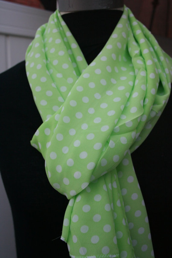 bring colors lime green spring polka dot scarf by piyoyo on etsy   17 95