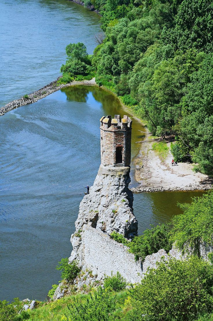 The maiden tower at Devin Castle, on the shores of the Danube river in Bratislava, Slovakia.
