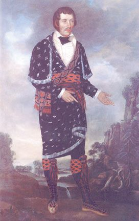 William McIntosh, a Creek leader who worked alongside American agent Benjamin Hawkins, sought to defeat the Red Sticks. With both American and Native American ancestry, McIntosh maneuvered between cultures and formed a Creek alliance to work with Americans. (Alabama Department of Archives and History). Ceded Indian lands and was assassinated.