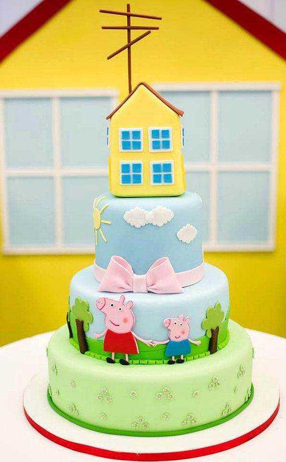Peppa Pig house for cake by ColdPorcelainPaula on Etsy