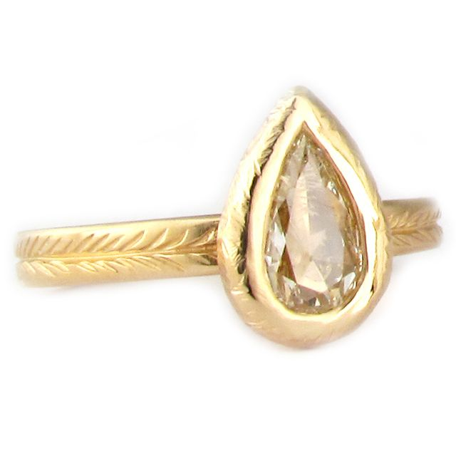 Concorde Pear Diamond Ring   14k yellow gold with 0.61ct rose cut pear shaped diamond      $3600