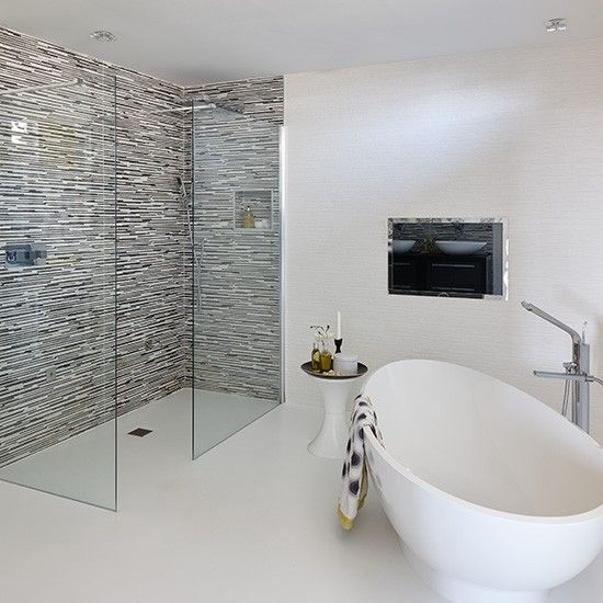 Black and white bathroom with modern fittings and fixtures