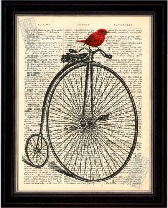 Penny Farthing Bicycle with colourful Red Bird Print on Upcycled 1896 Latin English Dictionary Page mixed media  digital