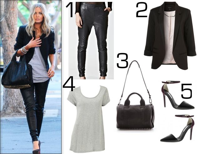 Steal Lara Bingle's style! You can't go wrong with rockstar leather boyfriend pants paired with a statement bag, boyfriend blazer and killer heels.