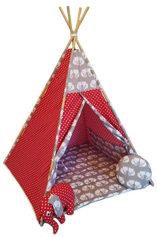Krásné dětské teepee  zn. POPPY pro holčičky ve syté červené barvě s puntíky doplněné šedobéžovou s krásnými lištičkami v bílé Stan má čtyři tyče o délce 180cm, uvnitř dvojitá kapsa na hračky , podložka oboustranná/ gramáž výplně 360g/ součástí jsou i dva polštářky ve tvaru kolečka  a slůněte.