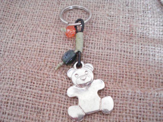 Silver bear keychain Teddy bear Xmas gifts Handbag charm by Poppyg