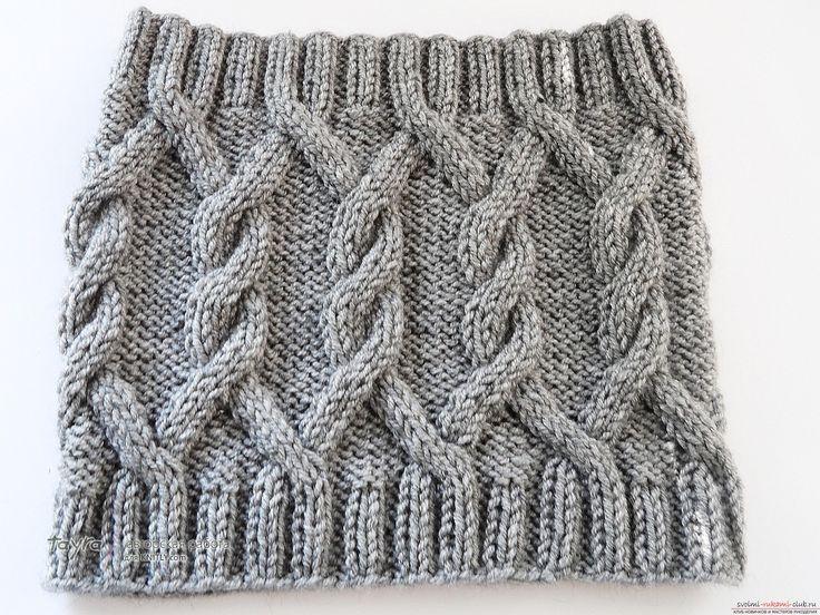 вязаный спицами шарф-снуд. Фото №2