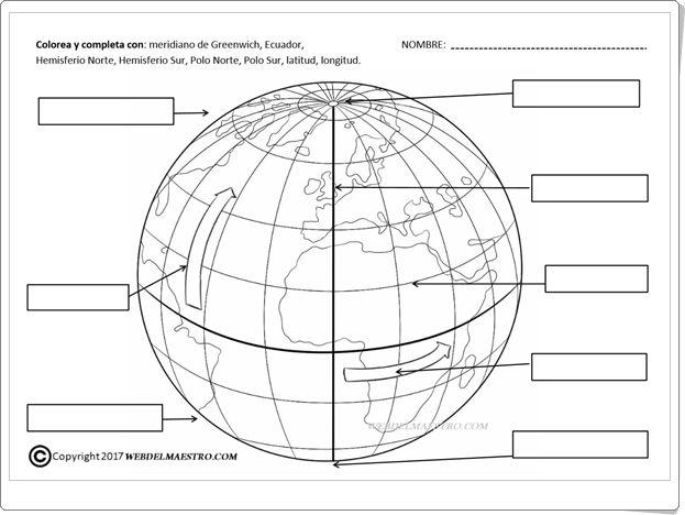 Las Líneas Imaginarias De La Tierra Ficha De Ciencias Sociales De Primaria Paralelos Y Meridianos Actividades De Geografía Enseñanza De La Geografía