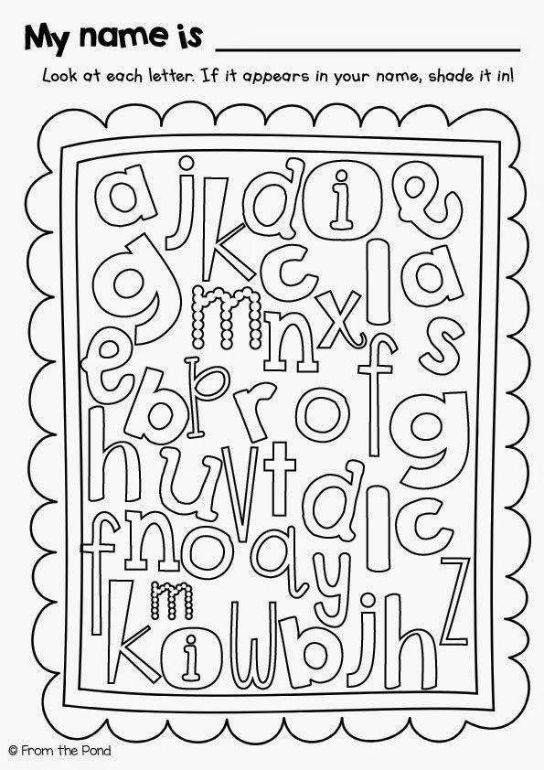 Name Letter Hunt Freebie Worksheet! Student color the letters in their name-cute way to get the recognizing letters! Great beginning of the year idea. Mel's blog posting with this has some more terrific ideas!
