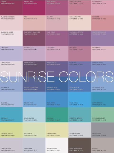 "SUNRISE palette: More Alive With Color: ""If you are a Sunrise Colortime your best Signature Colors are a Frost Gray suit with a Bonnie Blue shirt."" - eisemancolorblog.  Another pinner identifies this as Soft Summer."