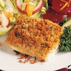 Baked Lemon Haddock With a seasoned bread-crumb coating, this recipe is my husband's favorite dish. It is easy because it bakes while preparing the rest of the meal #diabetes #diabeticrecipe