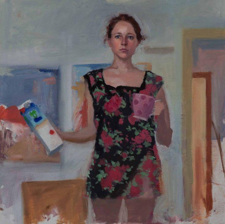 Self portrait with Milk and Mug, 30 x 30 cm, oil on panel, 2011