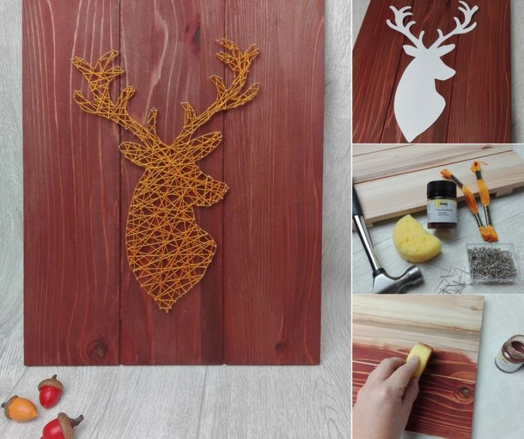 Dieses Fadenbild mit Hirschmotiv ist die perfekte Herbstdeko. Anleitung und kost…