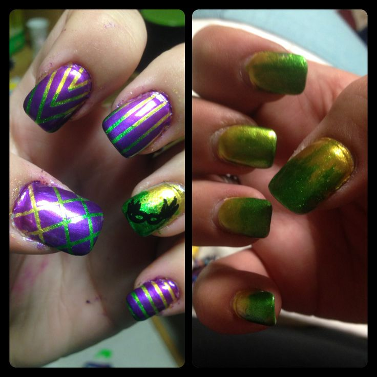 Mardi Gras theme! For the ombre on both hands I used KleanColor's Metallic Yellow #162 & Finger Paint's Sketch N Etch. On the left I took it even further by using striping tape (eBay has the hook up!) to create simple designs on all but my ring finger, & painted over it with Pure Ice's No Means No before quickly pulling the tape off. For my ring finger's design, I used Black Special Polish by Konad & a RedAngel stamping plate w/ my Salon Express Nail Stamping Kit, which I found at Kroger.