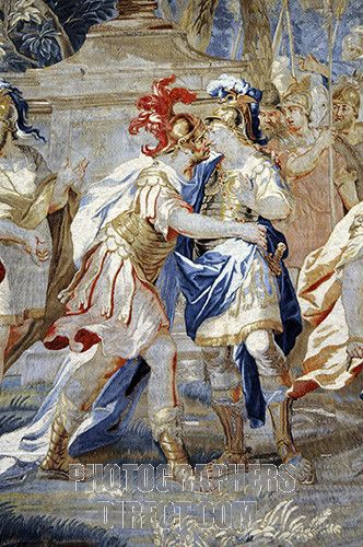 Alexander the Great kissing Hephaestion , tapestry at Hampton Court , London , UK stock photo