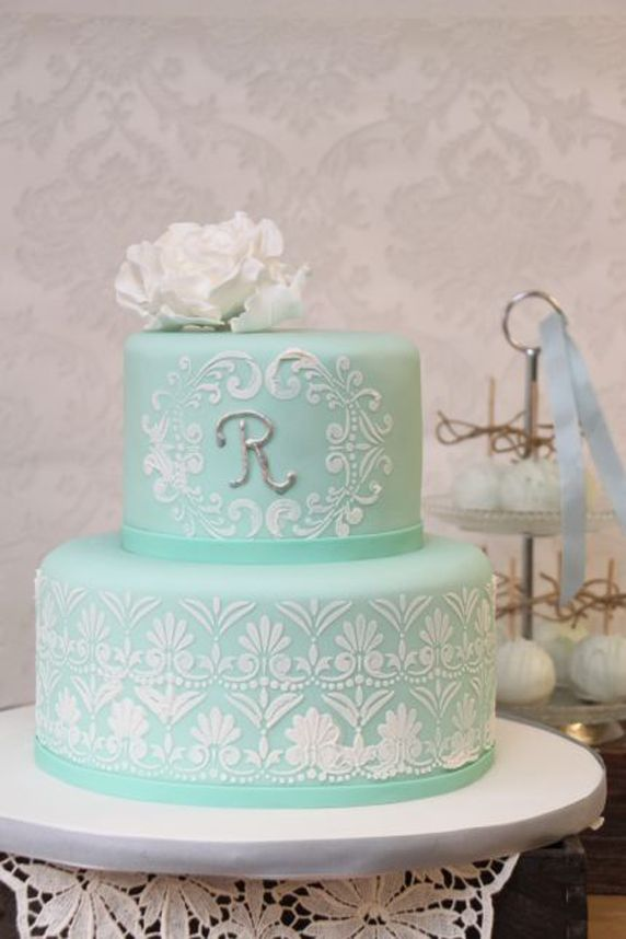 Beautiful White Stencil Patterned Mint Wedding Cake #wedding #cakes