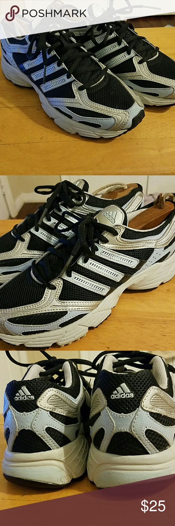 Adidas Ladies running shoes Ladies Adidas runners size 6.5 in excellent condition very little use. Ready for a new set of feet and awesome adventures. Actual colors are black light blue/grey and silver trim. Adidas Shoes Sneakers