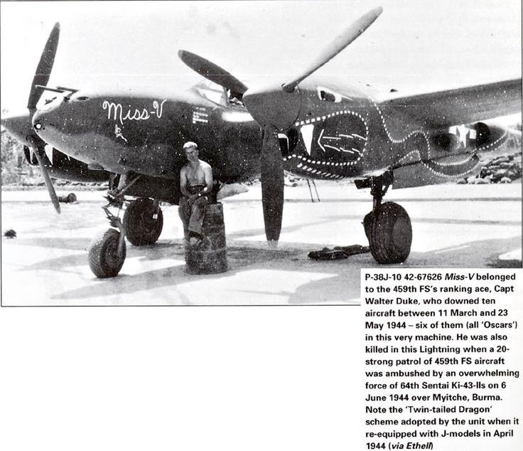 """Lockheed P-38J-10-LO, s/n 42-67626 """"Miss-V"""", 459th FS 80th FG, pilot Captain Walter Francis """"Wally"""" Duke, Chittagong Airfield, circa May 1944."""