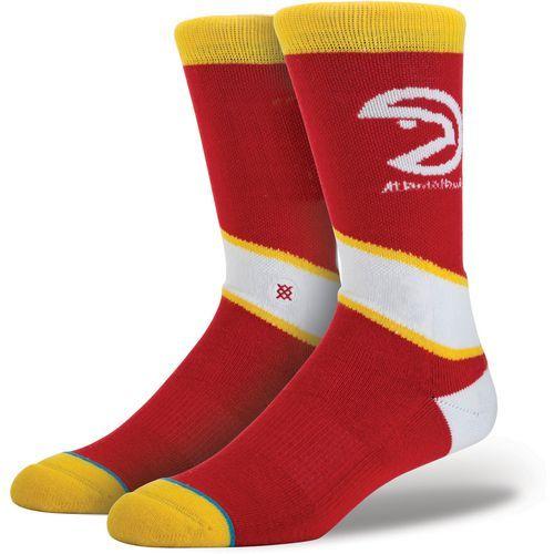 Stance Men's Atlanta Hawks Hardwood Logo Crew Socks (Red, Size Large) - Pro Licensed Product, Pro Licensed Novelty at Academy Sports