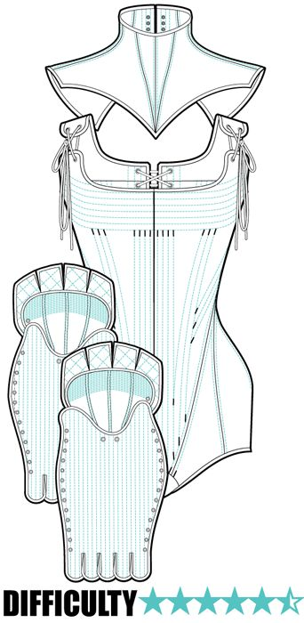 BATTLE SUIT PACK: Learn the techniques used in traditional corsetry construction through double layered tight lacing corsets and the, relatively experimental, modern sculpting techniques used for body panelling. This pack features 3 patterns: greeves; corset with hip pads and collar. Pattern available as a PDF DOWNLOAD and comes with detailed and stunningly illustrated PDF instruction sets with important tips and tricks. Each pattern piece includes seam allowance. £14.00