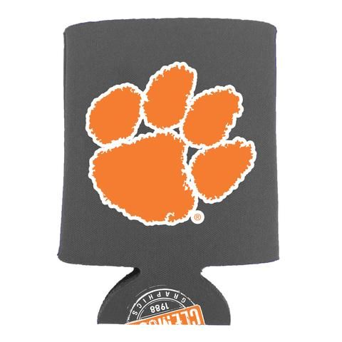 e9d6f4218c8 Charcoal grey koozie with an orange   white Tiger Paw on one side and the  palmetto