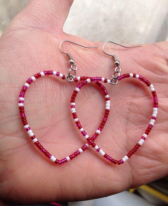 Valentines Day Beaded Heart Earrings