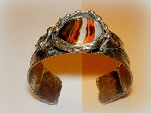 http://megasilver.pl/Bransoleta-p368 #Bracelet #metalwork #handmade #white #brown #agate #stone #jewelry #jewellery