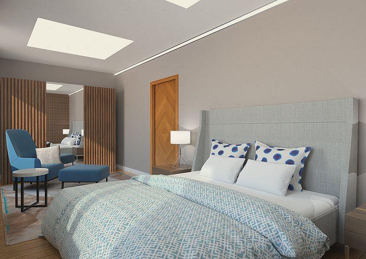 Современный интерьер спальни от GENESIS INTERIORS. Светопропускающие потолки. Синее кресло Rolf Benz. Серая кровать с высоким изголовьем Rooma design.