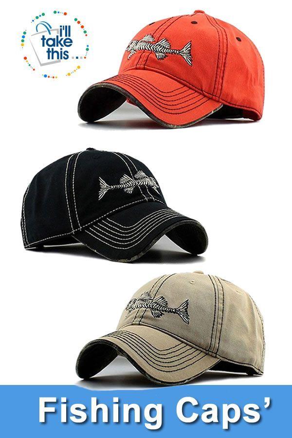High Quality 100 Pure Cotton Fish Bone Fishing Hat Available In Black Blue Khaki Or Orange Fishing Hat Fishing Hats For Men Hats For Men