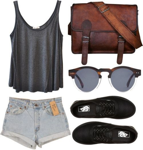 loose grey tank, satchel, round glasses, jean shorts, and those black shoes