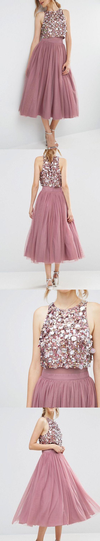 Tea length prom dress, two piece prom dress,