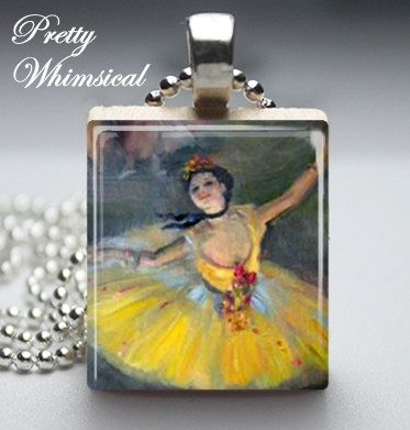 Degas YELLOW BALLERINA Necklace made with a by prettywhimsical