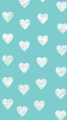 Fundo azul bebé com corações