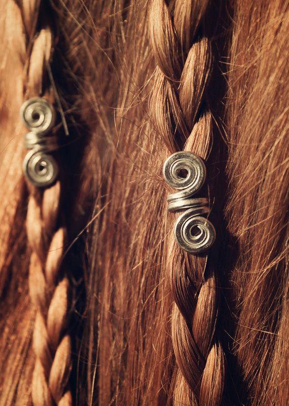 Silver New • Pair of Viking hair beads • Hair beads • Beard jewelry • Dwarven beard coils • Bead hair accessory • Dreadlock hair accessories