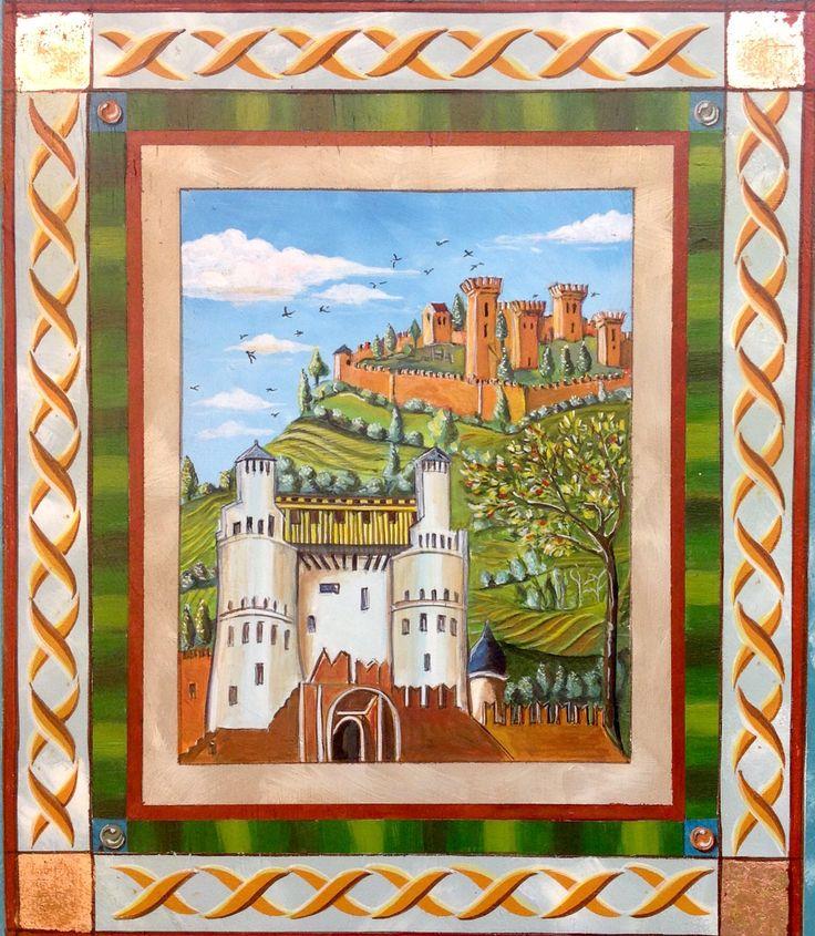 Italian Village Renaissance style - Caséine sur bois Representant Silene of Lieya . Original par Vittore Carpaccio (1502)