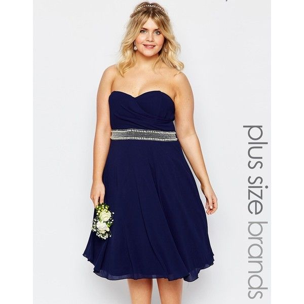 TFNC Plus Chiffon Midi Prom Dress With Full Skirt And Embellished... ($78) ❤ liked on Polyvore featuring dresses, navy, plus size, chiffon prom dresses, blue chiffon dress, plus size cocktail dresses, navy cocktail dress and cocktail prom dress