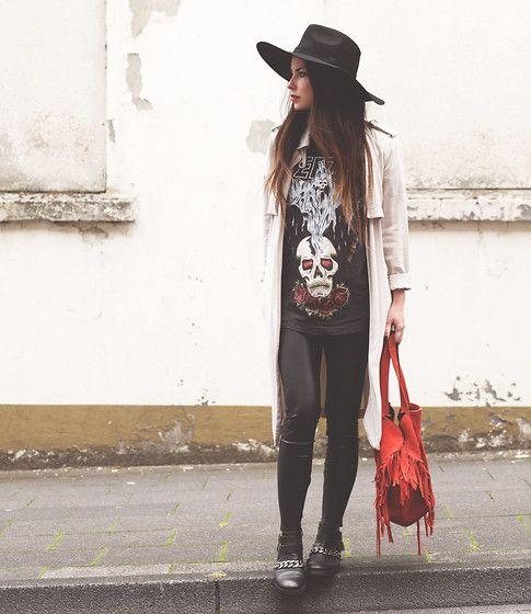 Asos Fedora Hat, Zara Duster Coat, Yeezus Tour Merch Shirt, Zara Fringe Bag