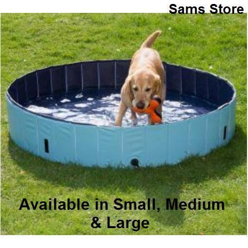 Dog paddling pool Whether you're looking for a pool to keep your dog cool on warm days or foldaway bath this durable pool is ideal. The strengthened side panels make this a sturdy pool without the need for inflation. The pool has a ribbed surface to prevent your pet from slipping when jumping into the pool. If you want to leave the water in then simply place the cover over the pool and secure it into the ground using the pegs provided. Easy clean and storage. Available in 3 sizes: Small…