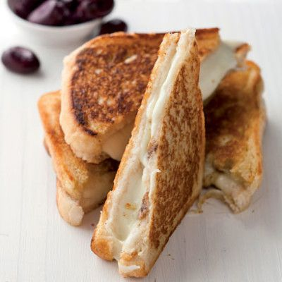 Mozzarella and anchovy toasties with black olives
